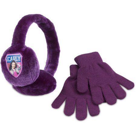 Nickelodeon - Girls' iCarly Earmuffs and Gloves Set, Purple
