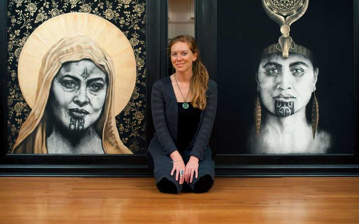 Artist Sofia Minson with Maori Portraits with Moko - Rose of the Cross and Queen of Raa