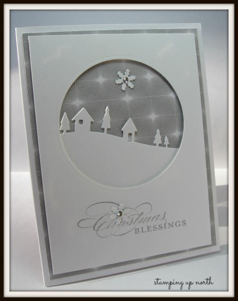 handmade card: Christmas Blessings by lhs43 ... die ct negative space circle filled with die cut landscape line and snowflake ... great design with the base layer printed paper as mat border and as background in the circle ...