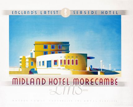 Poster produced for London, Midland & Scottish Railway (LMS) to promote the Midland Hotel in Morecambe, Lancashire, 'England's latest seaside hotel'. The poster shows a view of the hotel outlined sharply against a clear blue sky. Artwork by an unknown artist.