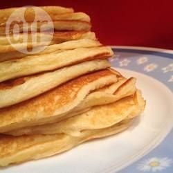 These fluffy pancakes made with Greek yoghurt, eggs, flour and bicarbonate of soda are ready to eat in 15 minutes