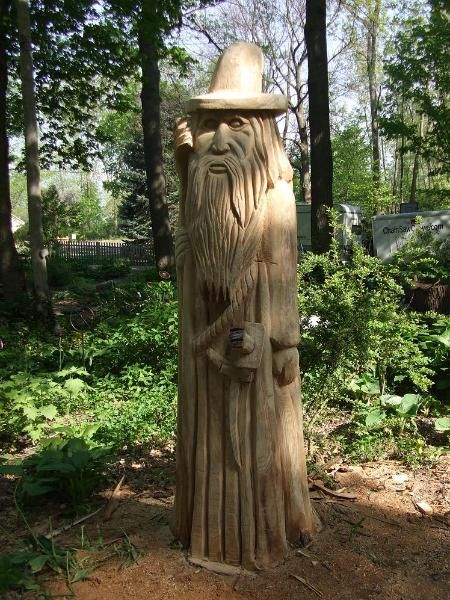 Wizard tree carving stump in lansing michigan