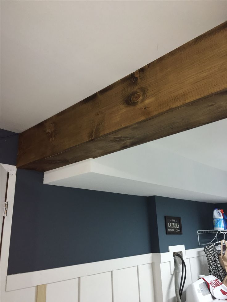 My first faux wood beam DIY Used pine board and Minwax