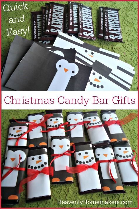 In just a few minutes, a simple Hershey bar can become a penguin or a snowman – thank you Pinterest!   Look how adorable these are: I found the free printables for these candy bar wrappers here.  You'll find other wrappers there beyond snowmen and penguins – those two were just my favorites. :)  We're …:
