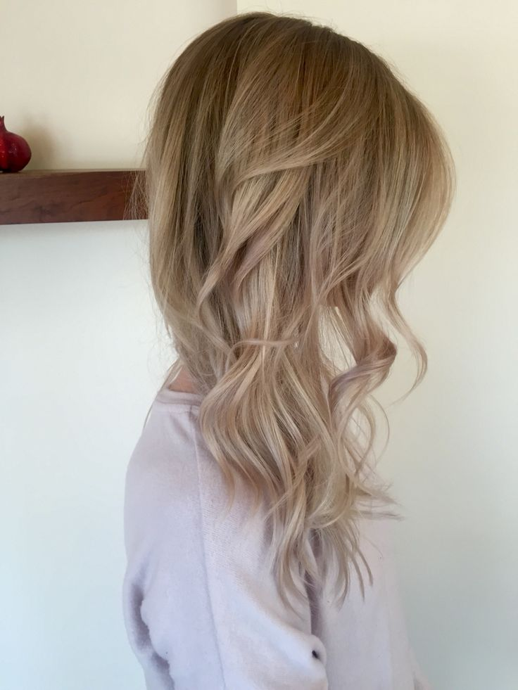 Natural blonde balayage- dark roots, with sandy tips