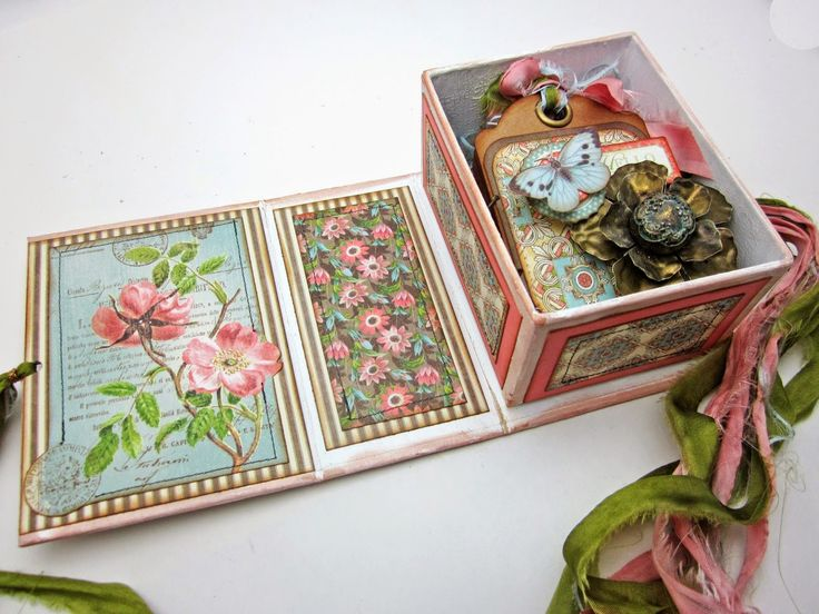 Botanical Tea collection.  Mini tag book, pin and box. LoriWilliams , Pinkcloudscrappers , Graphic45 , G45