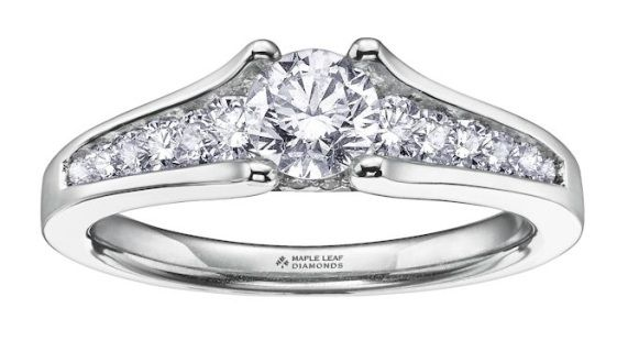 Maple Leaf Diamonds™ Ladies Engagement Ring Pure White 18 karat Canadian Certified Gold round brilliant cut Canadian diamond ladies engagement ring  0.75ct, CDC* 0.30ct from $2,799 1.00ct, CDC* 0.50ct from $4,499