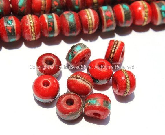 50 beads - Red Bone Inlaid Tibetan Beads with Turquoise & Coral Inlays - TibetanBeadStore - Red Bone Beads Tibetan Mala Supplies - LPB13S-50
