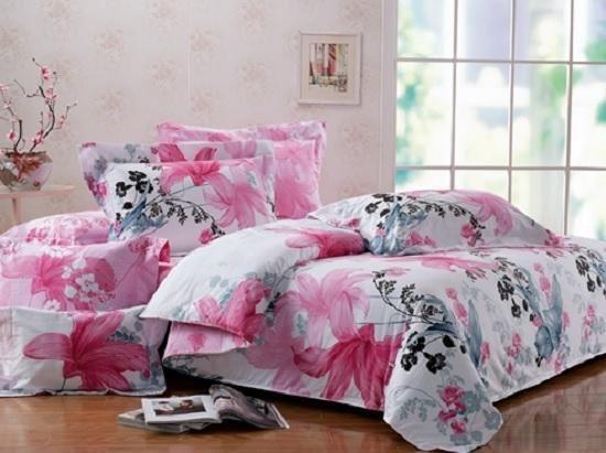 TWIN XL 100% COTTON Girls Teen DORM Pink Black Gray FLORAL