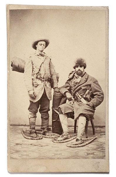 1860 70s Carte De Visite Portrait Of Two Well Armed Frontiersmen In Winter Garb Including Snowshoes With Bed R