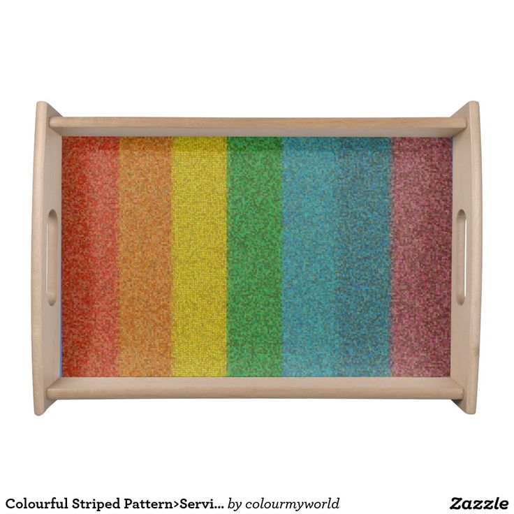 Colourful Striped Pattern>Serving tray Service Tray