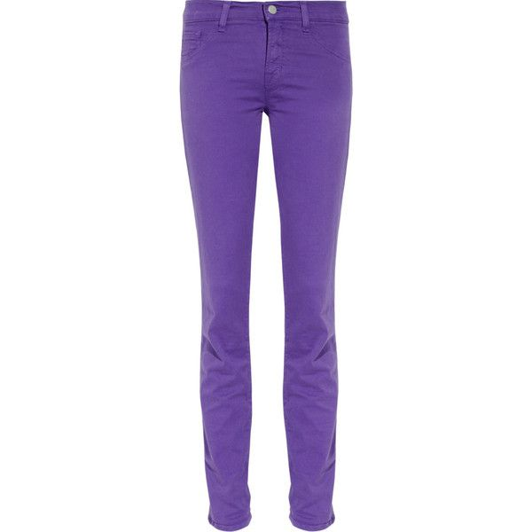 J Brand 811 mid-rise twill skinny jeans ($120) ❤ liked on Polyvore featuring jeans, pants, bottoms, skinny jeans, pantalones, violet, denim skinny jeans, mid rise skinny jeans, skinny fit jeans and stretch skinny jeans