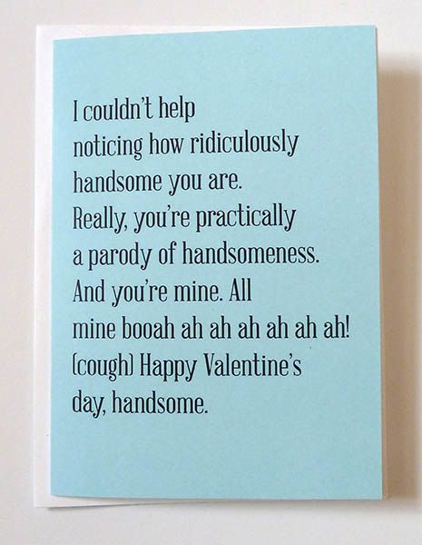 Youu0027re Handsome Valentine Card. New Relationship Valentine Card, Funny  Valentine, Awkward Valentine Card