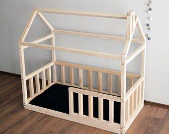 Huis bed frame peuter bed Montessori, babybed, wieg grootte bed stadsvilla unieke bed, huis bed frame van de nieuwe home, kinderkamer meubels