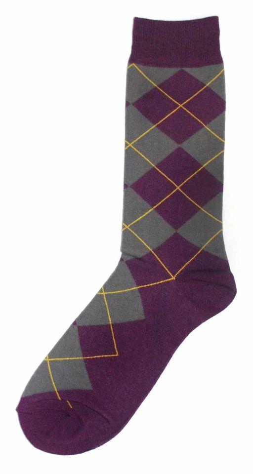 Purple Grey Argyle Men's Dress Socks - K. Bell Socks