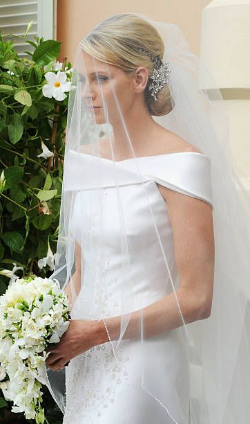 Princess Charlene of Monaco attends the religious ceremony of the Royal Wedding of Prince Albert II of Monaco to Princess Charlene of Monaco in the main courtyard at the Prince's Palace on July 2, 2011 in Monaco. The Roman-Catholic ceremony follows the civil wedding which was held in the Throne Room of the Prince's Palace of Monaco on July 1. With her marriage to the head of state of the Principality of Monaco, Charlene Wittstock has become Princess consort of Monaco and gains the title…