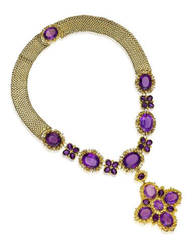 Antique Amethyst And 14k Gold Woven Necklace  c.1830