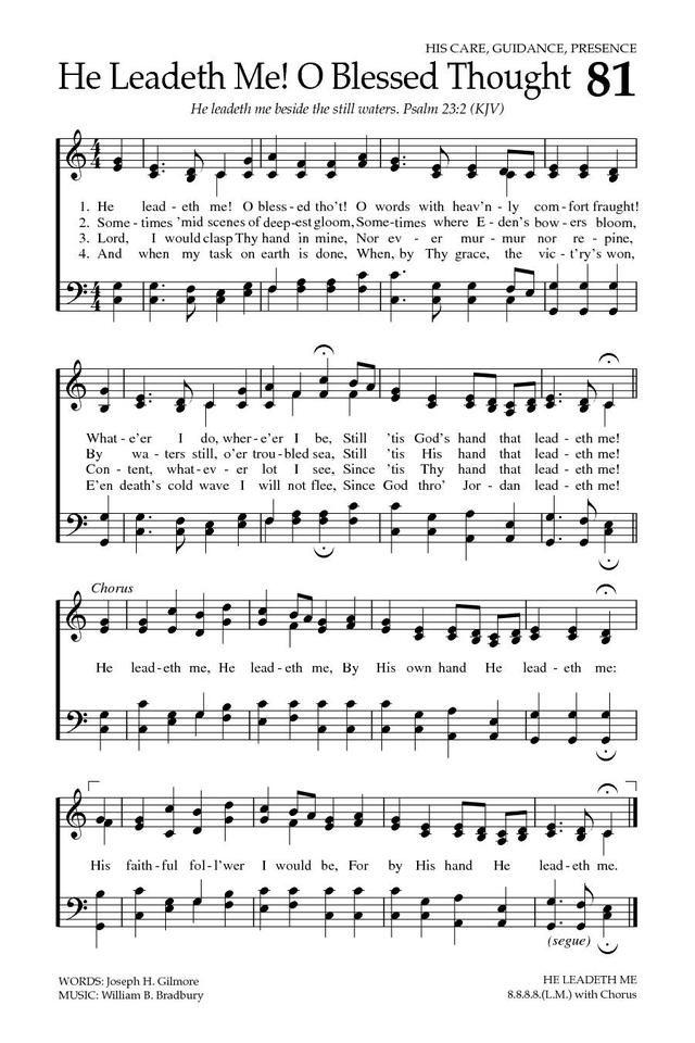 Baptist Hymnal 2008 81. He leadeth me! O blessed tho't! - · Church MusicChurch ...