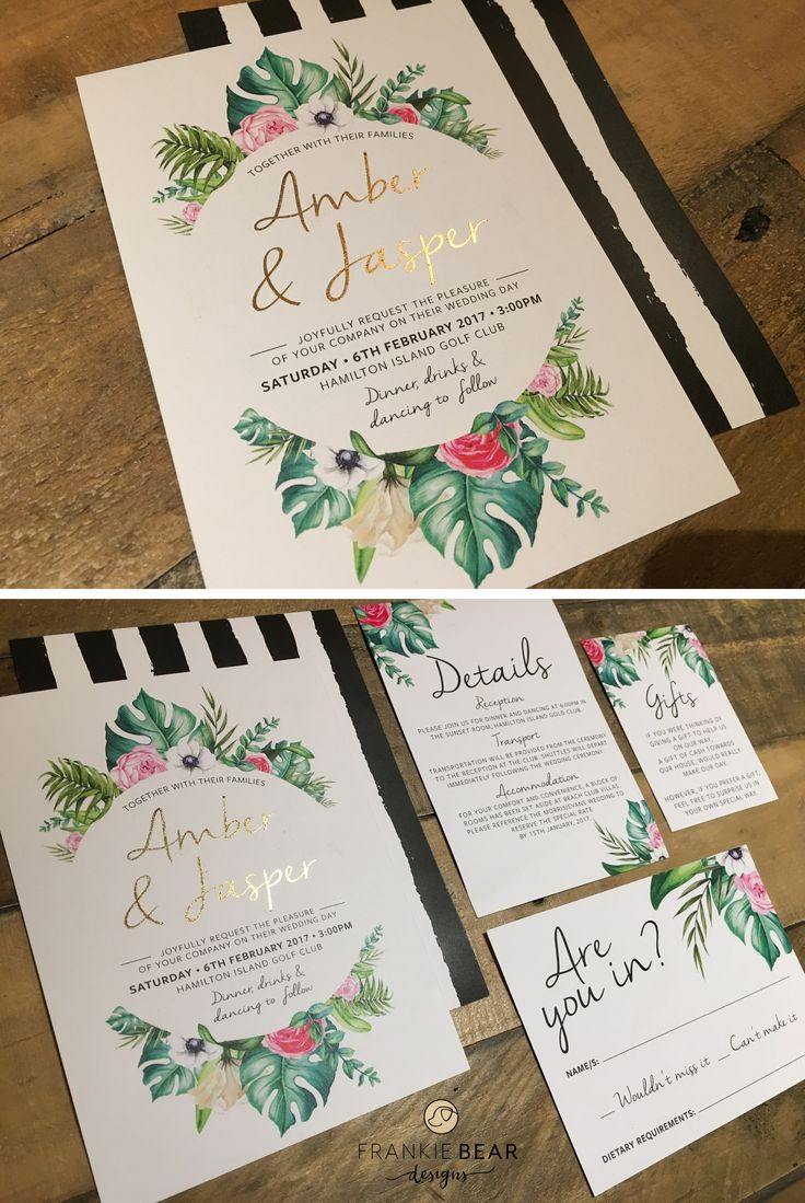 white and gold wedding invitations%0A This gorgeous tropical wedding invitation features faux gold font  a palm  leaf and floral wreath graphic and striped back design
