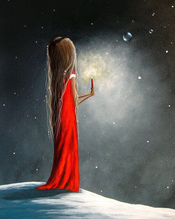 Winter-Kunst – Urlaub Kunst – Mädchen – Kerze – Erback Kunst – Fantasy-Kunst – Kunstdruck – Home Decor Idee – wunderlich – 8 x 10 – verschneit – Kunst für Sie