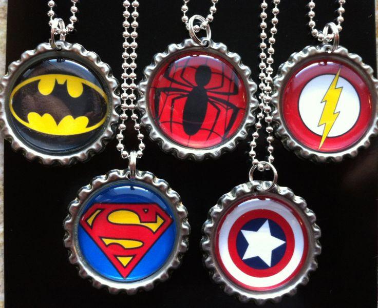 Super Hero Bottle Cap Necklaces by RockinBottleCaps on Etsy, $12.50