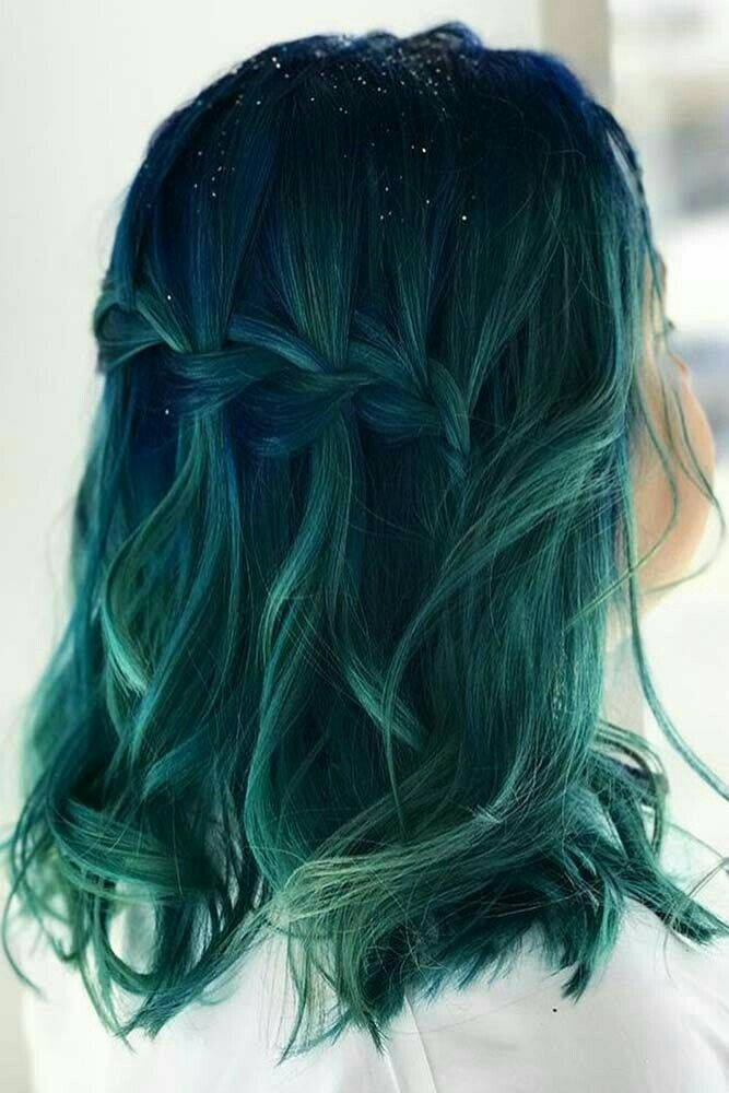Green Blue Hair Style Hairstyle Short Shorthair Pin With