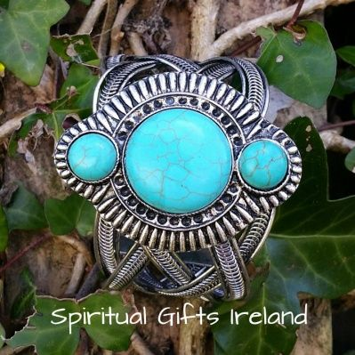 Visit our store at www.spiritualgiftsireland.com  Follow Spiritual Gifts Ireland on www.facebook.com/spiritualgiftsireland www.instagram.com/spiritualgiftsireland www.etsy.com/shop/spiritualgiftireland	 We are also featured on Tumblr  Bohemian style is becoming more popular in the fashion world. There is no better way to finish off a gypsy look than with a nice piece of arm candy. Turquoise and silver are a match made in heaven.  This beautifully designed Aztec amulet is finished with three…