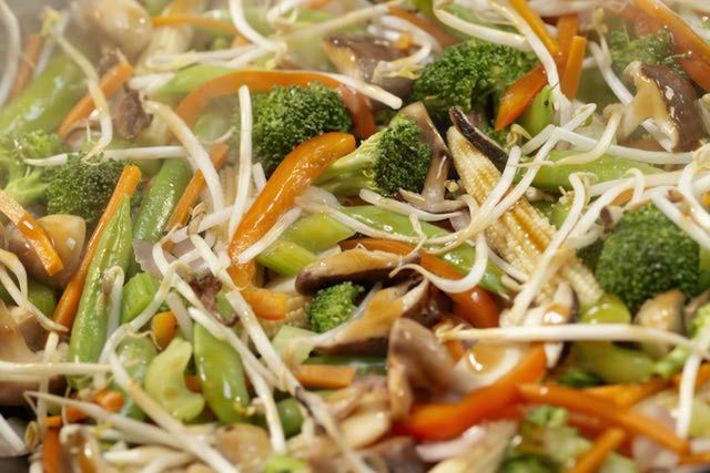 Easy Stir-Fry Bean Sprouts with Soy Sauce Recipe (throw in red pepper, broccoli, snow peas, diced celery).