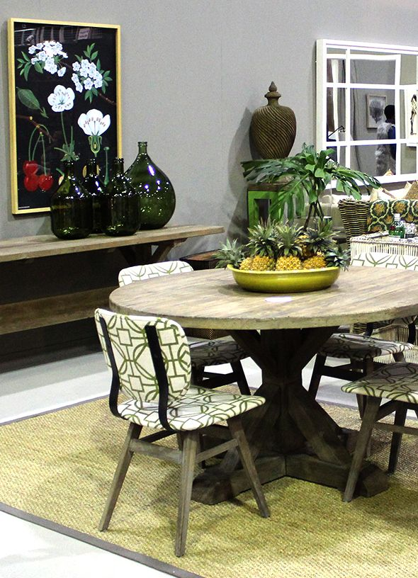 The Silk and Cotton Co. with dining chairs covered in design Santiago col. pistacho