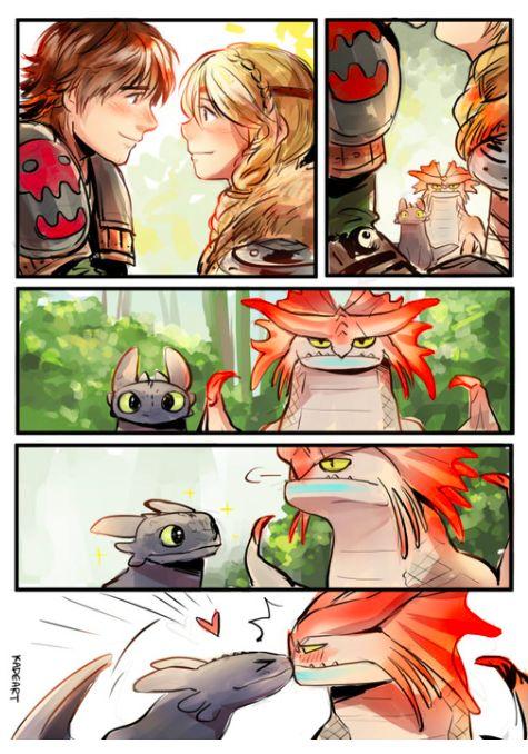 hiccup x Astrid Dragon kiss