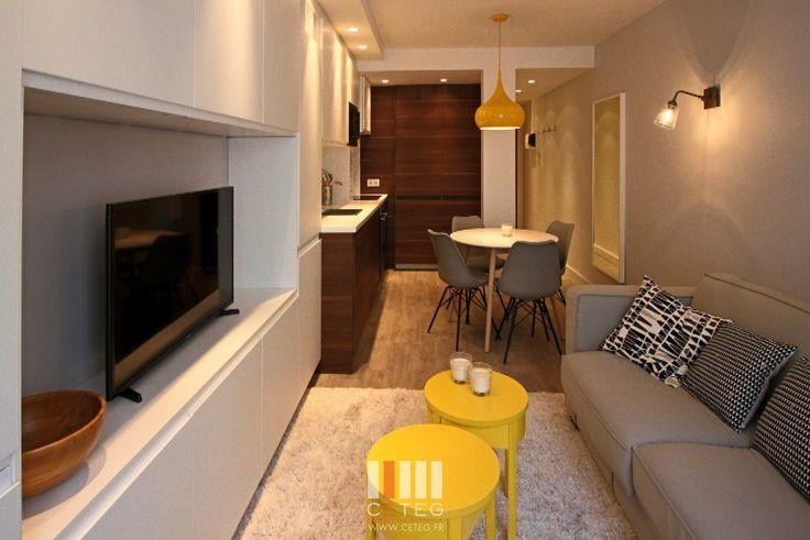 CETEG  Studio 26m² Optimisation d'espace  Cuisine Metod Ikea  Mobilier IKEA et Maison du monde.  Sol vinyl Berryl Alloc - pure loc  chêne du desert