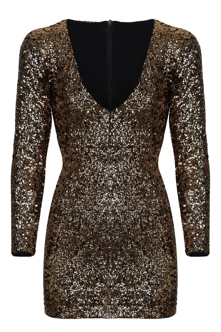 Gold Sequin Long Sleeved Bodycon Mini Dress