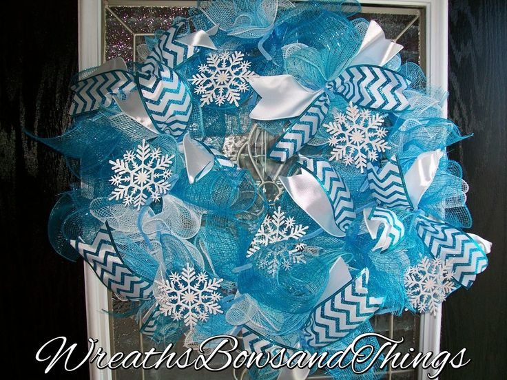 Winter Wreath in three different Deco Mesh colors and beautiful ribbon.
