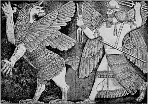 Lost orthostat from the Temple of Ninurta, Nimrud. Depicts Anzu bird stealing the tablets of destiny, being pursued by Ninurta (god of war) in human form, c. late 1st mill. BCE? (Favourite image of OH)