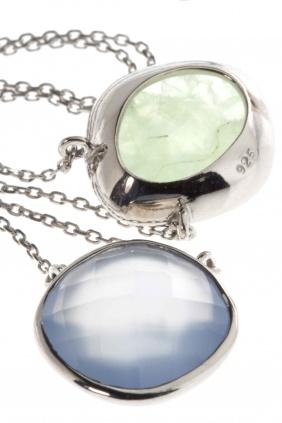 refreshing summer colors: Kette Sterling Silber Chalzedon Prehnit grün blau #newone
