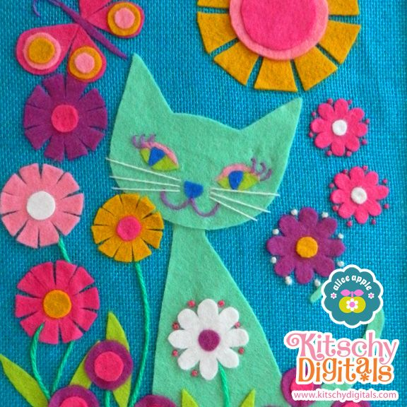 Make your own 60's vintage style kitty wall hanging with this printable template! Easy-peasy: Just cut out the felt parts and you can use felt glue to adhere if you're not up for hand-sewing. : )  #kitschydigitals
