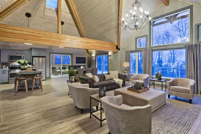 The selwyn home package from linwood homes the exposed for Open concept post and beam house plans