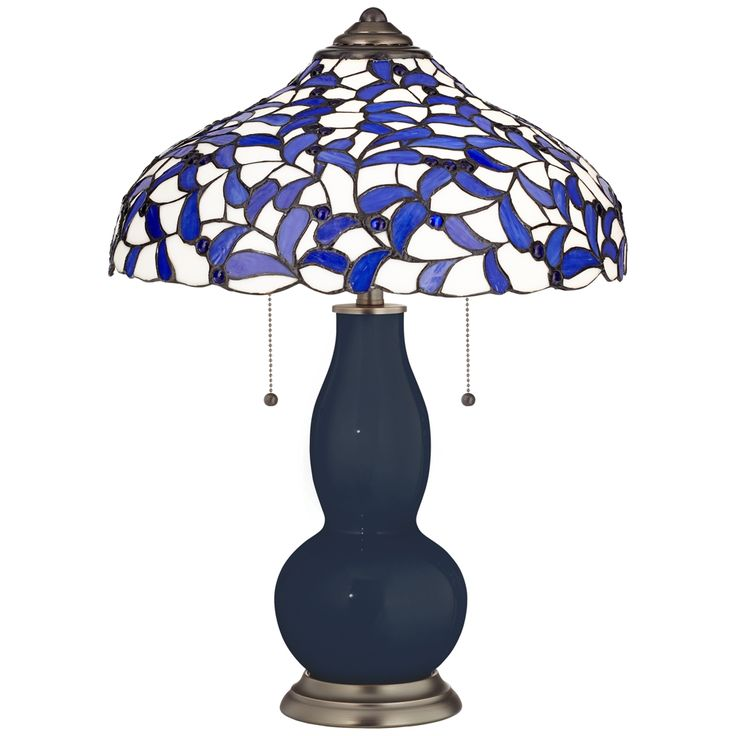 Naval Gourd Table Lamp with Iris Blue Shade - Style # 8C921-3W248-8V056
