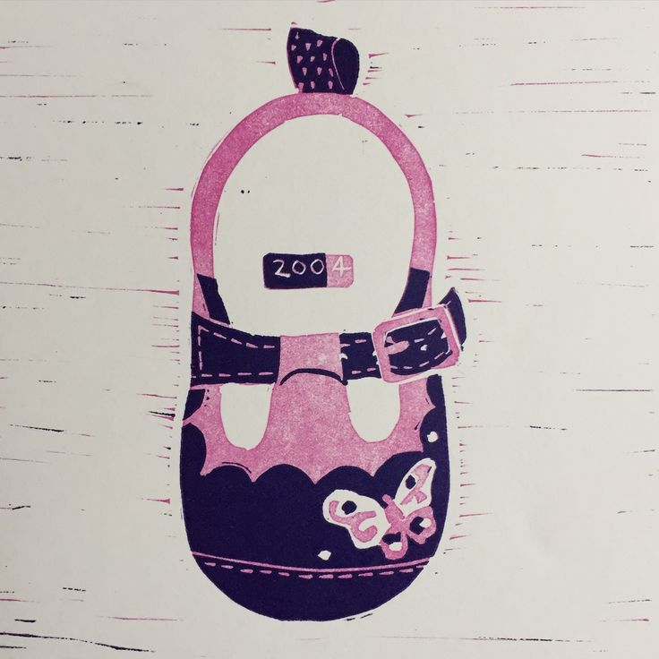 First Shoes. Reduction Lino Cut