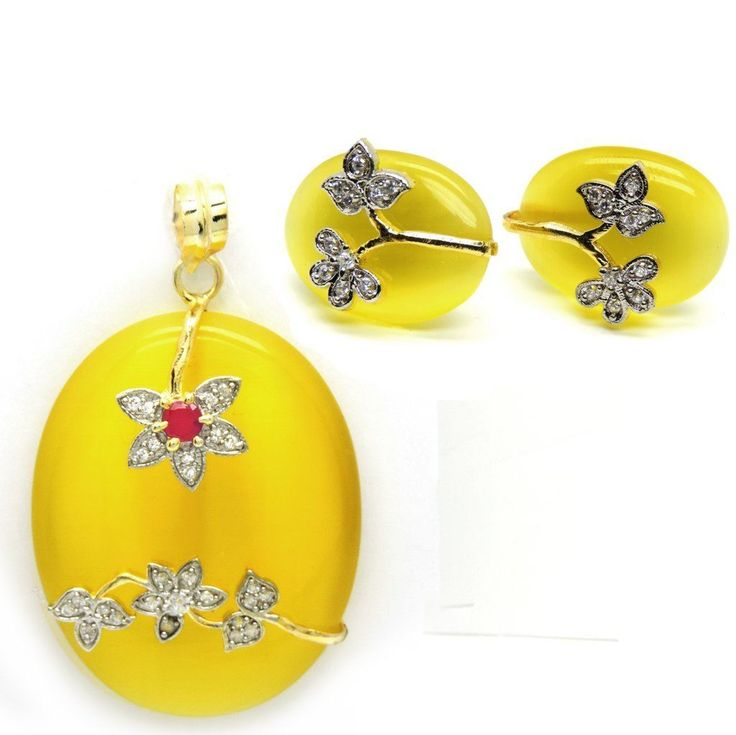 Khyla Fashion Pendant Set in Oval shaped Yellow Stone