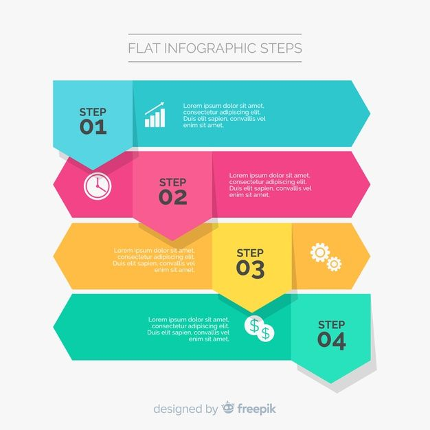 Download Flat Infographic Template With Steps For Free