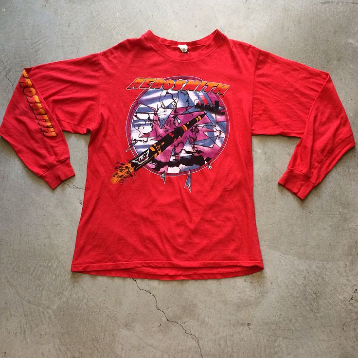 """'86 Aerosmith Tour Long Sleeve Shirt $85+$8 (shipping) domestic. Size Large (28.5""""x21.5""""). Contact the shop at 415-796-2398 to purchase by phone or PayPal afterlifeboutique@gmail and reference item in post."""