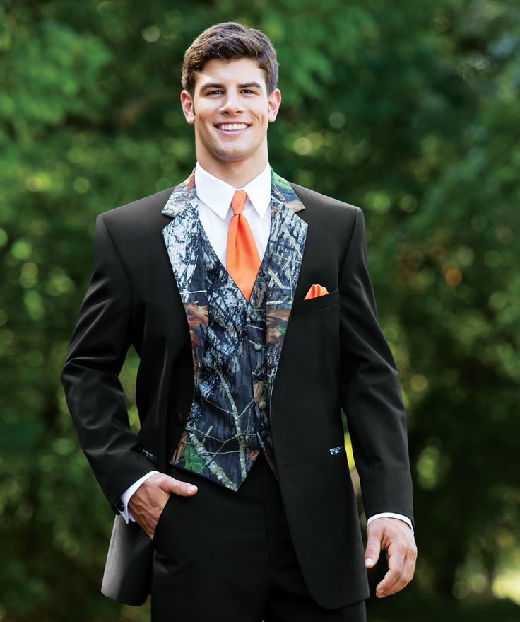 Mossy Oak Breakup Tuxedo with Accenting Hunter Orange Pocket Square and Tie.
