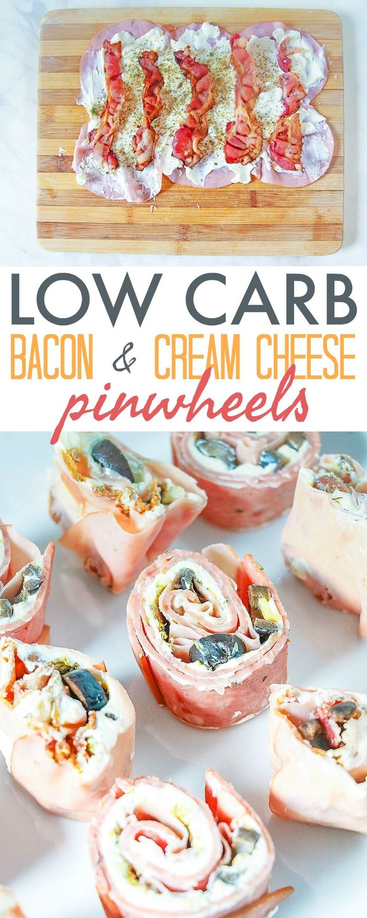 Low Carb Pinwheels with Bacon and Cream Cheese - this quick and easy keto recipe is versatile and is great as an appetizer or as a snack. https://www.730sagestreet.com/low-carb-pinwheels/
