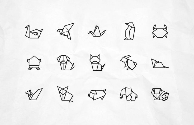 Icônes d'animaux Origami Vector