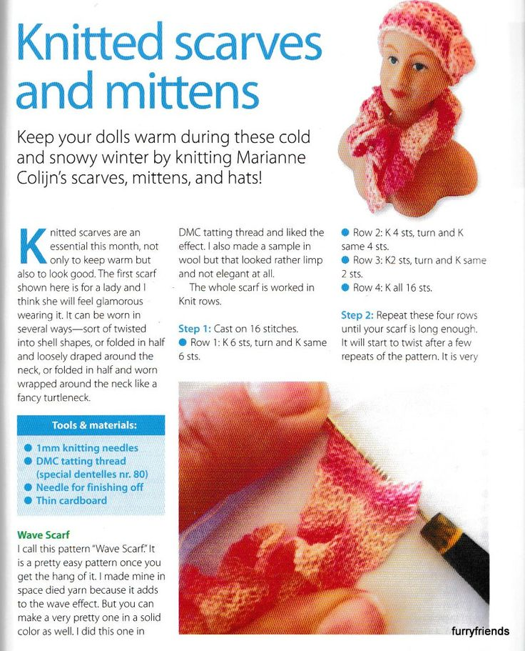 Knitting Patterns For Scarves And Mittens : 194 best tutorials: miniature knit & crochet images on Pinterest Knit c...