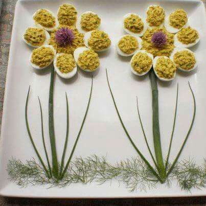 Deviled eggs in a flower arrangement