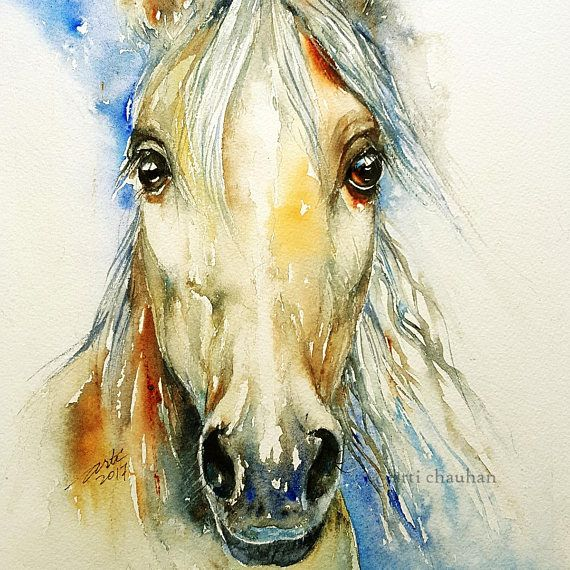 Horse portrait Original Watercolor Painting Wall Decor Animal