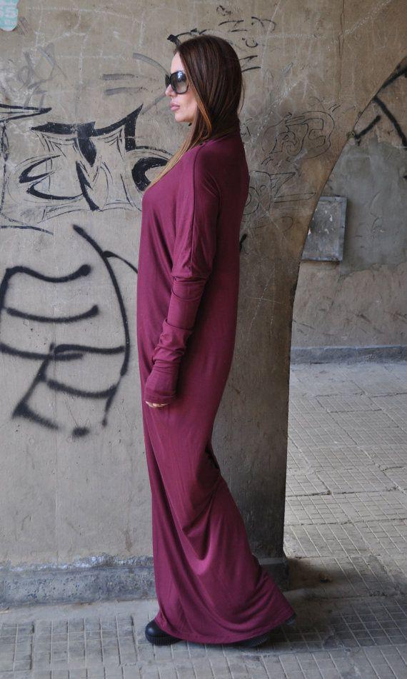 Длинное платье. Бордовое платье. Платье из хлопка. Свободное