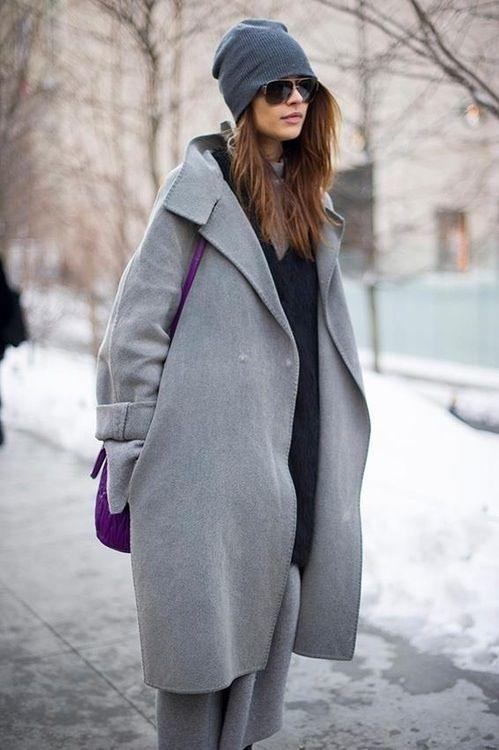 This grey oversized coat is insane.